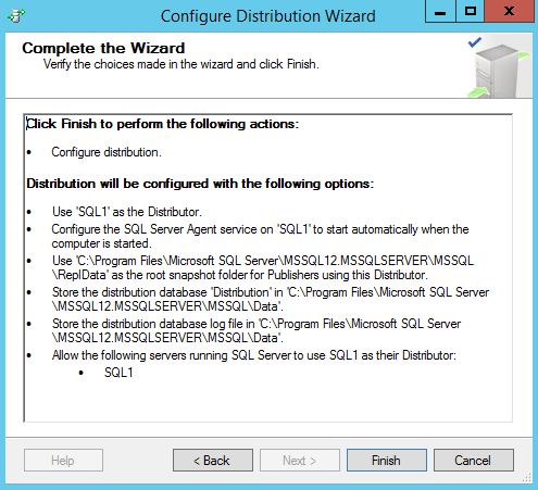 SQL Server replication - Configure distribution wizard - Complete the wizard