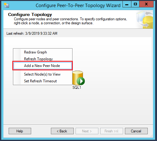 SQL Server replication  - Configure Peer-to-Peer Topology wizard - Configure Topology - Add a new peer node