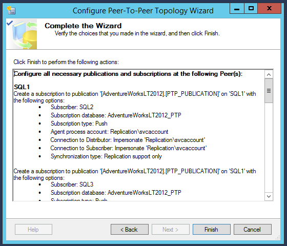 SQL Server replication - Log Reader Agent Secruity - Complete the Wizard
