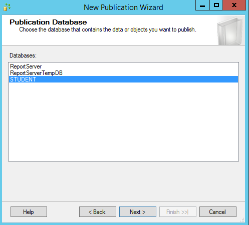 SQL Server replication - New publication wizard - Databases