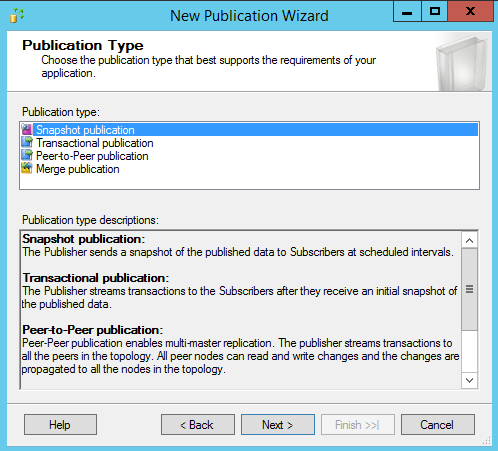 SQL Server replication - New publication wizard - Publication type