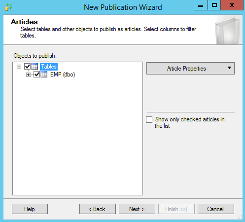 SQL Server replication - New publication wizard - Articles