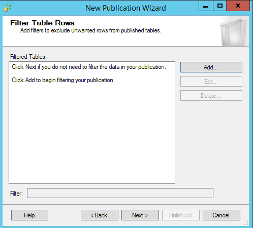 SQL Server replication - New publication wizard - Filtered tables