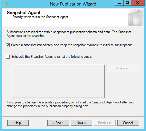 SQL Server replication - New publication wizard - Snaptshot Agent