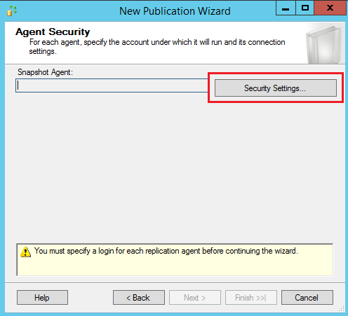 SQL Server replication - New publication wizard - Agent security