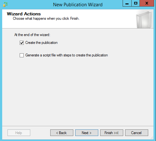 SQL Server replication - New publication wizard - Wizard actions
