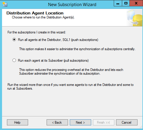 SQL Server replication - New Subscription Wizard - Distrubtion Agent Location