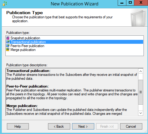SQL Server replication - New Subscription Wizard - Publication type