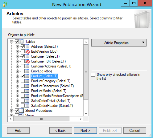 SQL Server replication - New Subscription Wizard - objects to publish