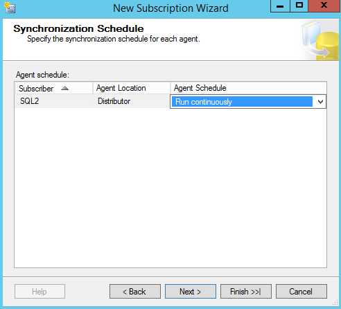 SQL Server replication - New Subscription Wizard - Synchronization schedule
