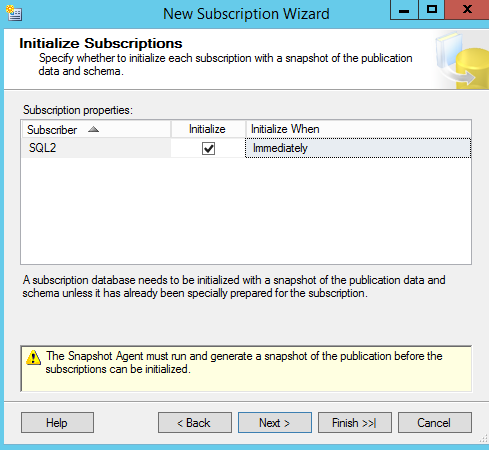 SQL Server replication - New Subscription Wizard -  Initialize subscriptions