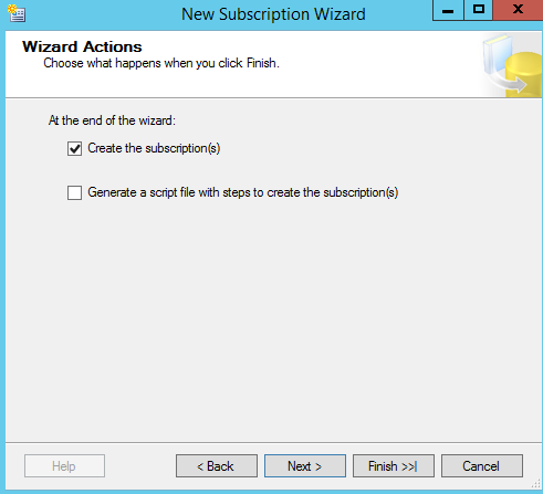 SQL Server replication - New Subscription Wizard - wizard actions