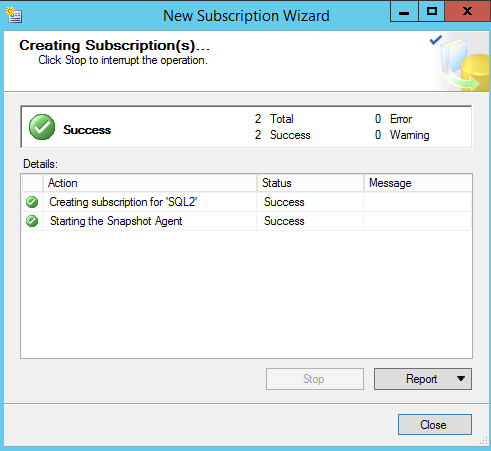 SQL Server replication - New Subscription Wizard -  creating subscriptions