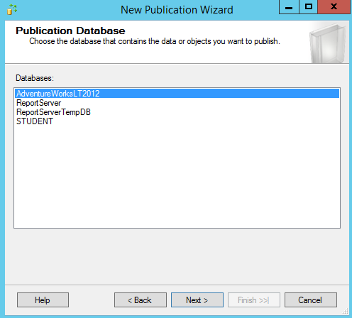 SQL Server replication - New Subscription Wizard - databases