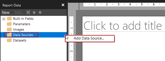 SQL Server Reporting Services - Add data source in Report Builder