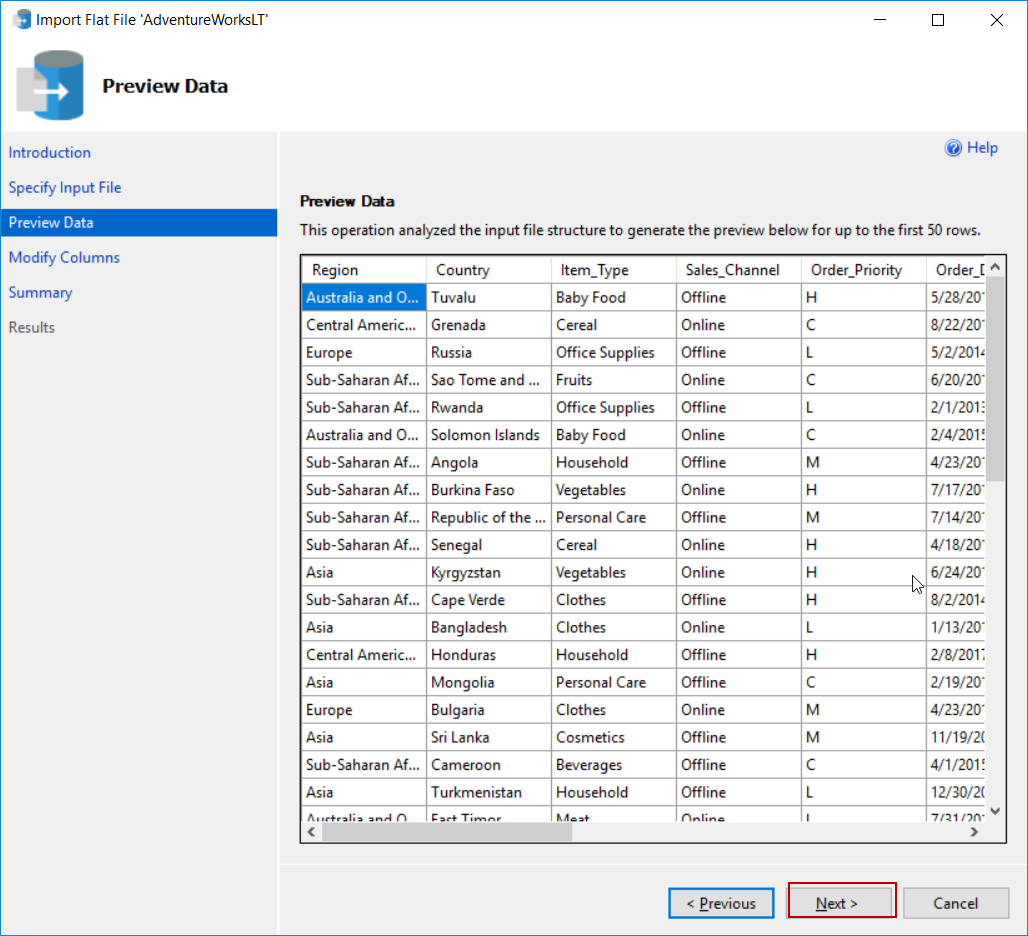 SQL Server Reporting Services - Preview Data in Import Flat File