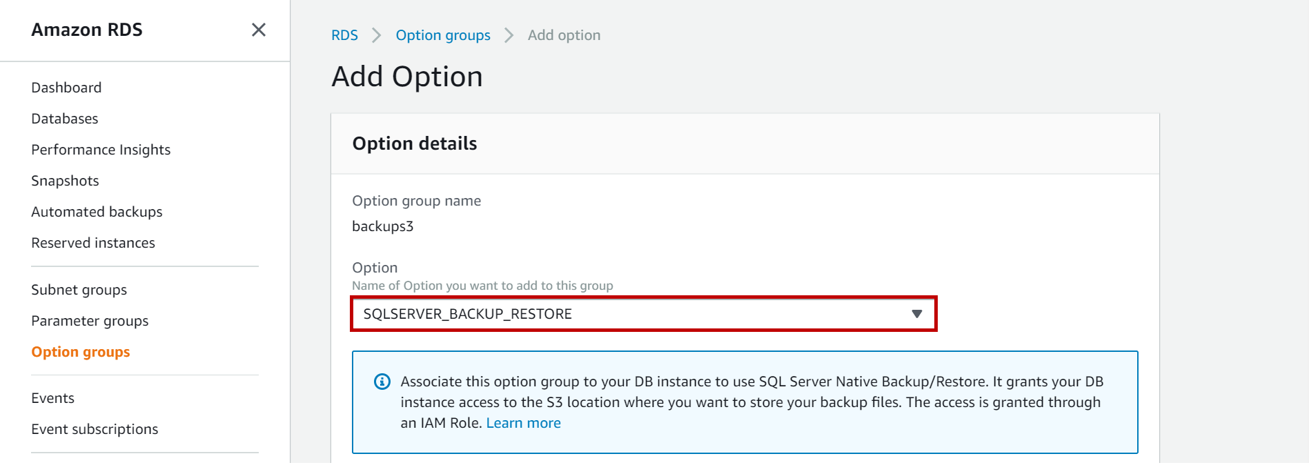 SQLSERVER_BACKUP_RESTORE option