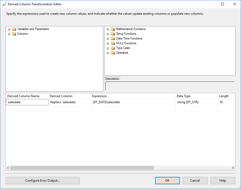 SSIS - Derived Column Transformation Editor
