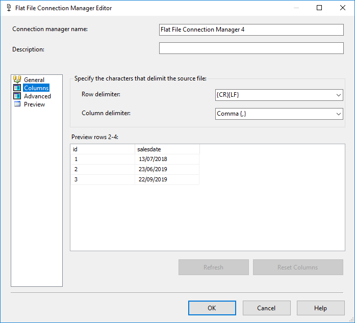 SSIS Flat File Connection Manager Editor - Columns