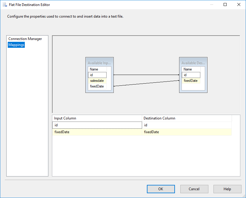 SSIS - Flat File Connection Manager Editor - Mappings