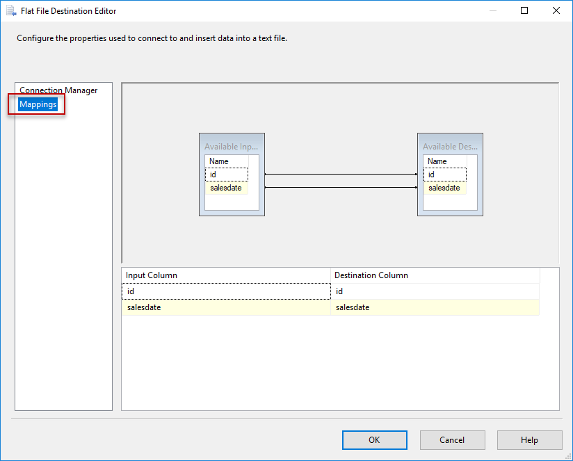 SSIS - Flat File Destination Editor - Mappings