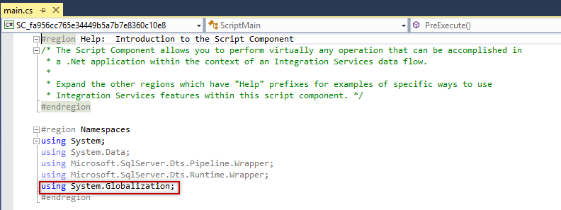 SSIS - Script Transformation Editor - Inputs and Outputs - Script source