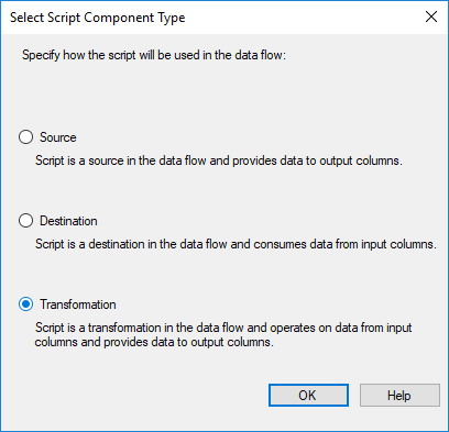 SSIS - Select Script Component Type