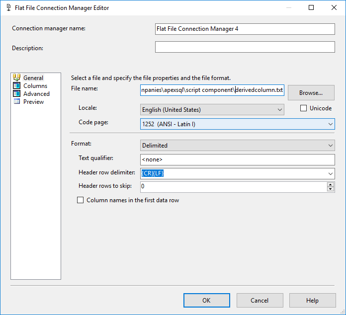 SSIS - SSIS Flat File Connection Manager Editor - destination file