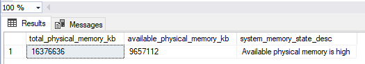 The result of the query will return current system memory information