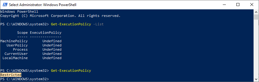 To get a list of the available scopes at which you can set PowerShell Execution Policies, run the follow-ing command:
