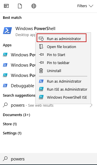 Windows PowerShell with administrative rights