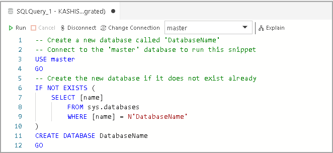 Code Snippets examples to create new database