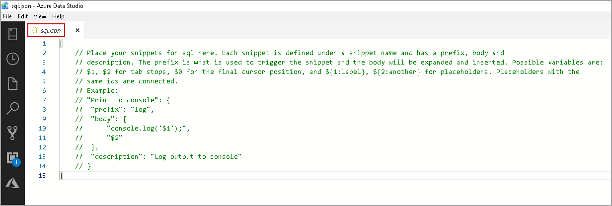 Configure User Snippets example