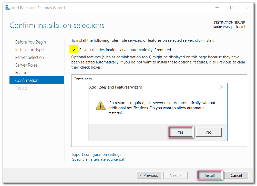 Confirm installation selections in Add roles and features wizard