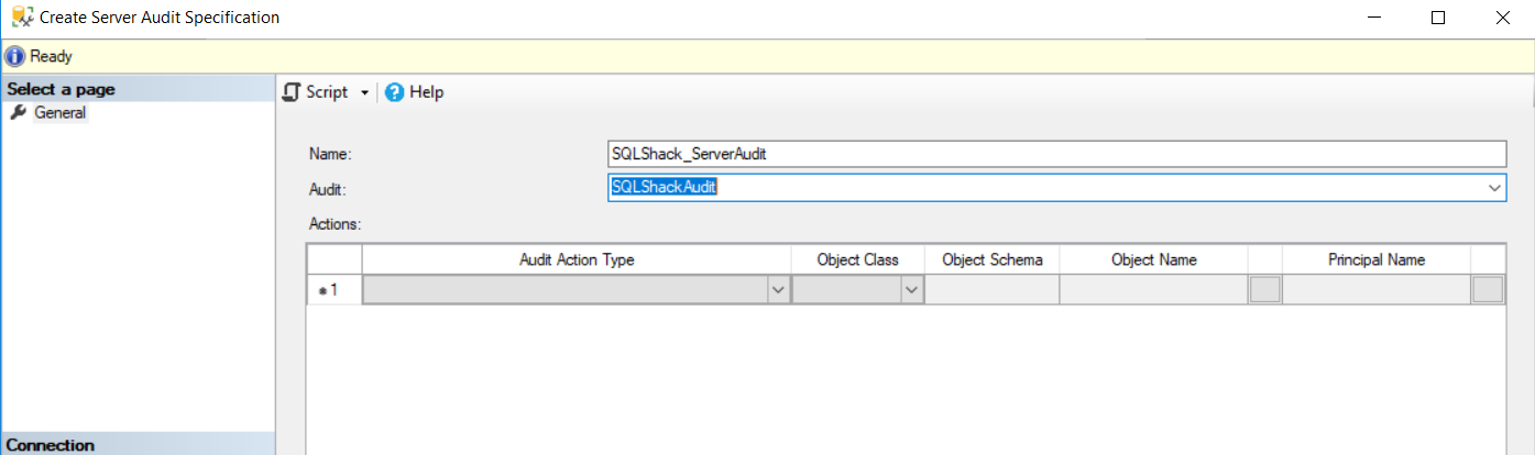 Create Server Audit Specification