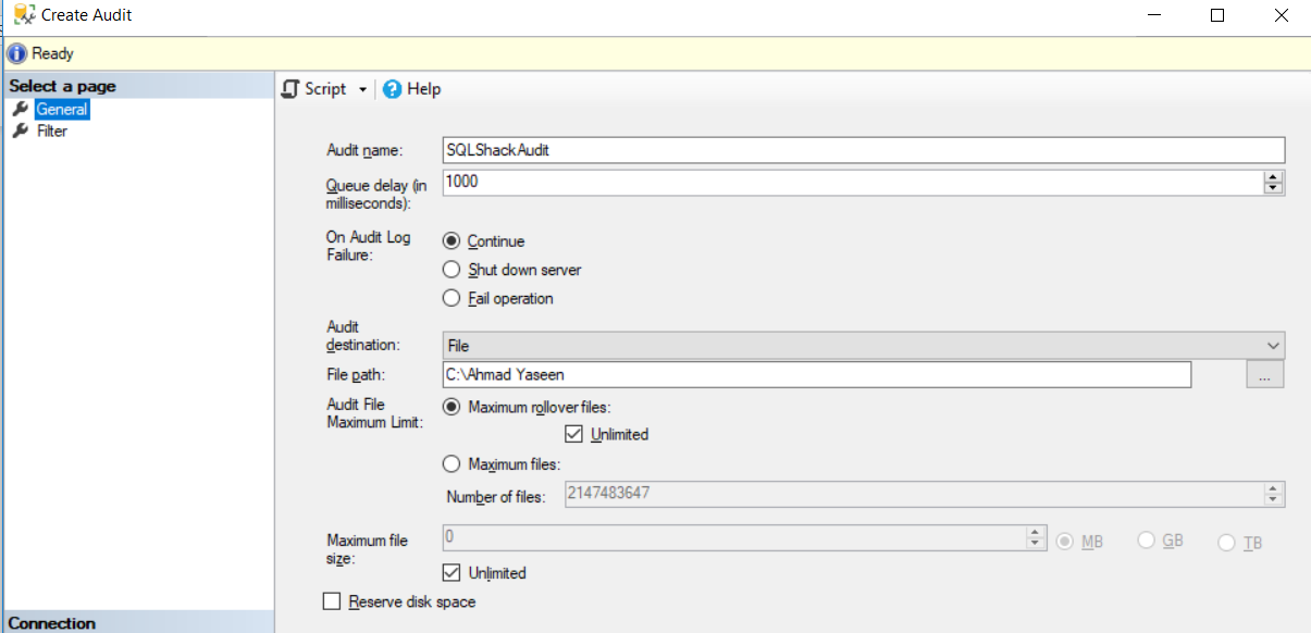 Create SQL Audit Options