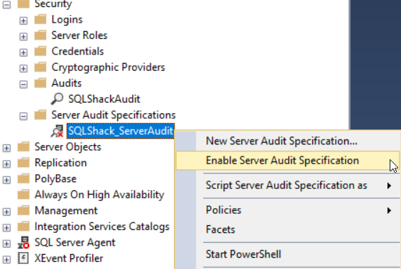 Enable Server Audit Specification