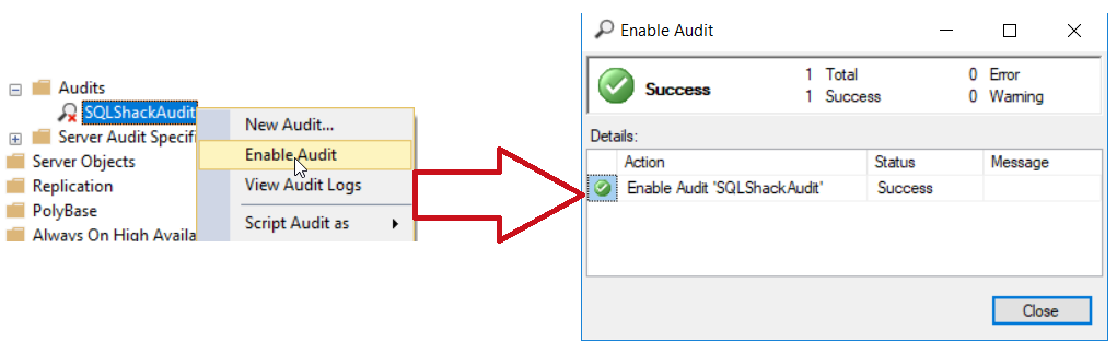 Enable SQL Server Audit