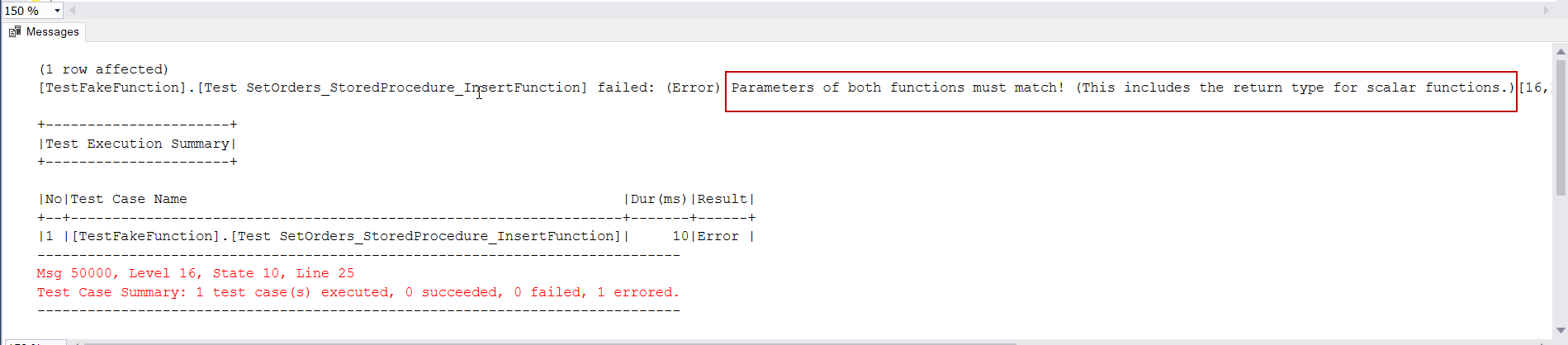 FakeFunction parameters of both functions must match error image.
