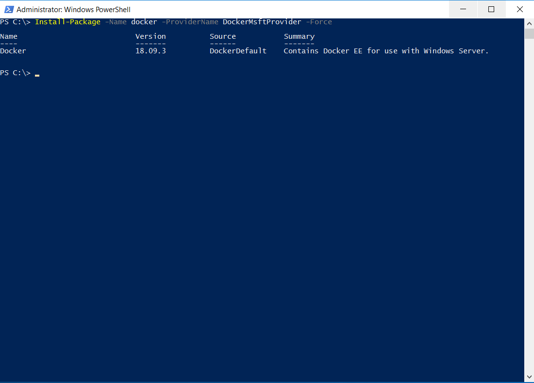 SQL Server with a Docker container on Windows Server 2016