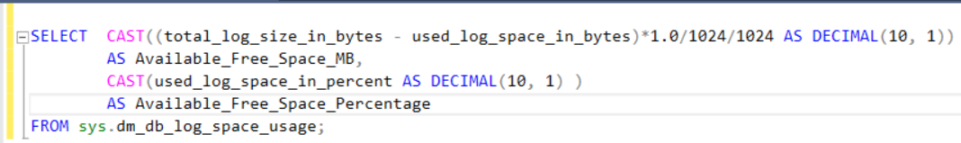 Log File Free Space