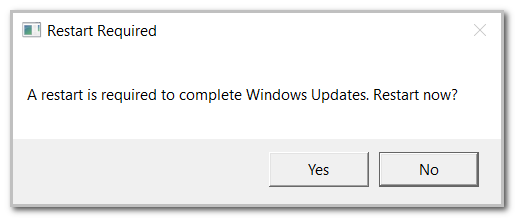 Restart the machine after installing updates