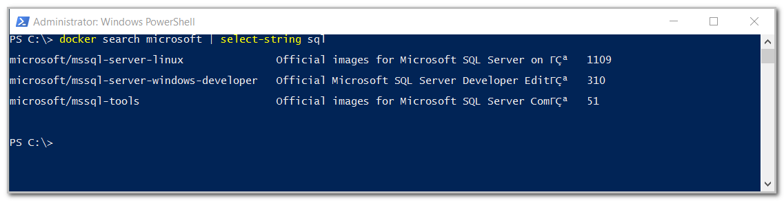search SQL Server images available in docker hub by micrrosoft.