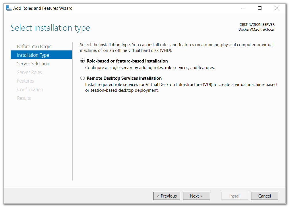 Selecting installation type in Add roles and features wizard