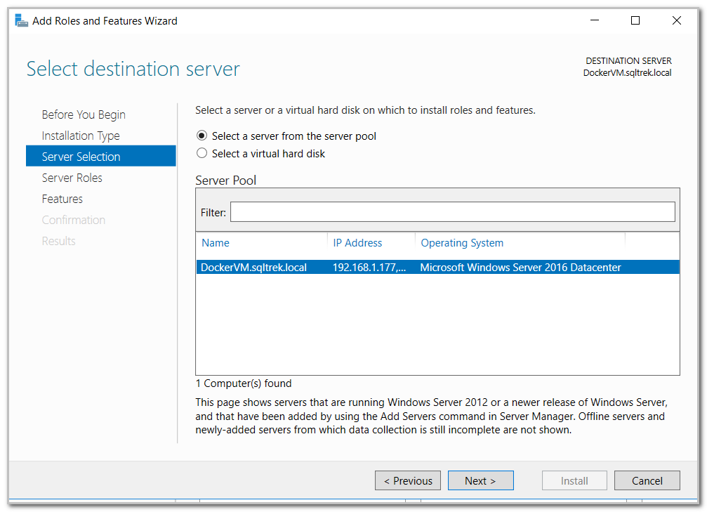 server selection in add roles and features wizard