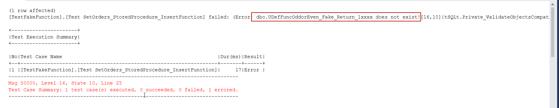 SQL Unit testing FakeFunction does not exists error image