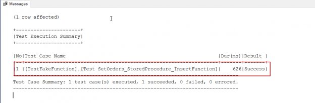 SQL unit testing - Result image of FakeFunction usage