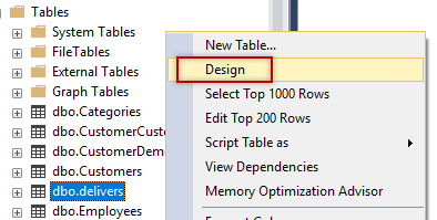 SSMS Design table