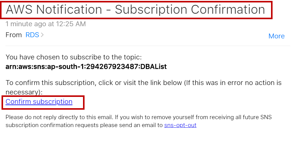 Subscription Confirmation Email
