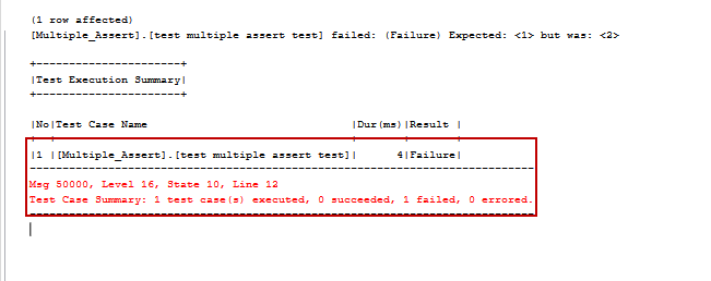 tSQLt unit test multiple asserts